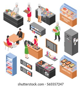 Isometric restaurant icons set with isolated constructor elements of food court furniture fridges counters with people vector illustration