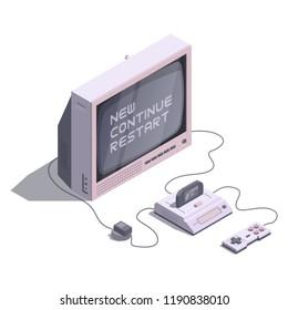 Isometric retro console with tv