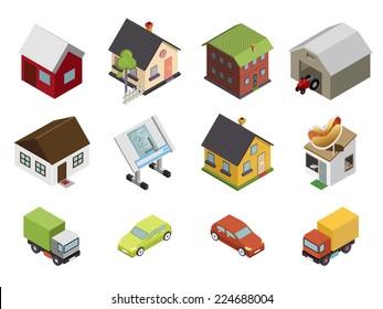 Isometric Retro Flat Cars House Real Estate Icons and Symbols Set Isolated Vector Illustration