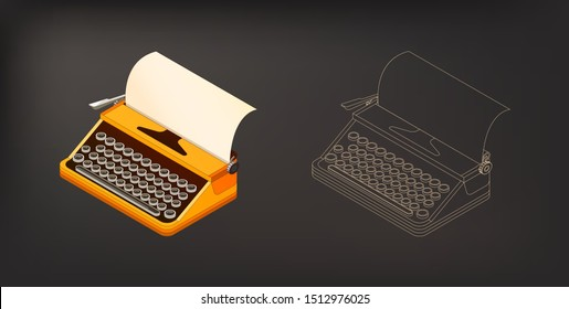 Isometric retro typewriter with color and monochrome version vector illustration. Equipment for writers, journalists, secretaries and other.  Old classic typewriter isometric.