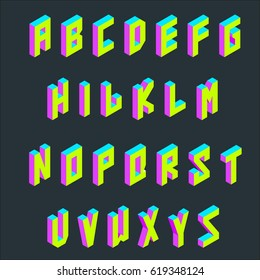 Isometric retro VHS style neon font vector set.