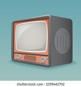 Isometric Retro Vintage Old TV Placeholder Frame Icon Realistic 3d Flat Design Template Vector Illustration