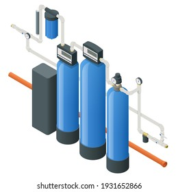 Isometric Reverse Osmosis Removes Contaminants from Unfiltered Water. Purification of Drinking Water at Home. Reverse Osmosis System.