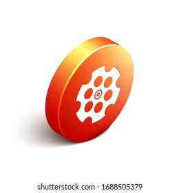 Isometric Revolver cylinder icon isolated on white background. Orange circle button. Vector Illustration