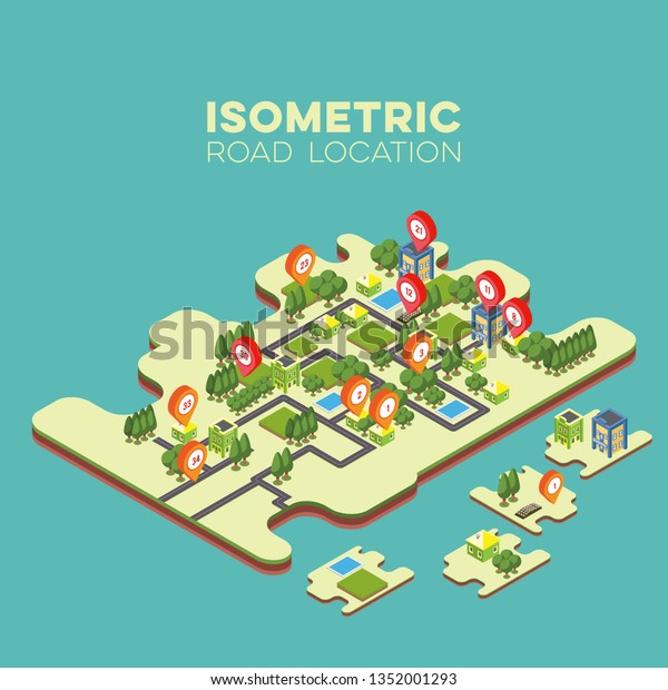Isometric Road Building Map Pin Summer Stock Vector (Royalty