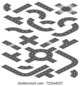 Isometric road and highway vector elements for city map creation. Road highway path for traffic illustration