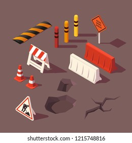 Isometric Roads on Green Terrain. Road Tiles Icon. Online Game Elements or Infographics object Flat 3D Isometric Buildings and Landmarks Collection Vector Illustration.
