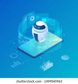 Isometric Robot Bot operating virtual HUD interface vector illustration. Artificial Intelligence, Automation Process Technology and engineering.