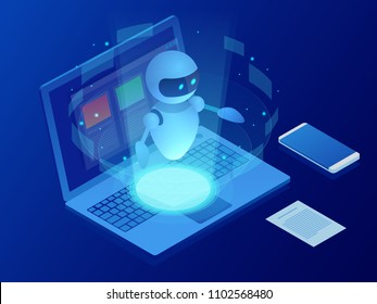 Isometric robot learning or solving problems concept. Artificial intelligence business vector illustration. Science teacher bot. Knowledge Expertise Intelligence Learn. Online training banner