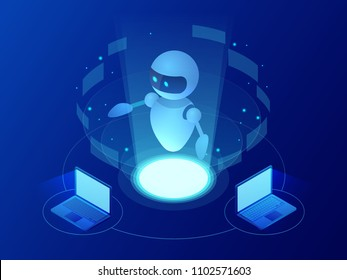 Isometric robot learning or solving problems concept. Artificial intelligence business vector illustration. Science teacher bot. Knowledge Expertise Intelligence Learn. Online training banner.