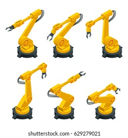 Isometric robotic arm, hand, industrial flat vector icons set. Automotive and electronics are top industry sectors for robotics use. Flat 3d vector illustration