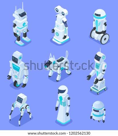 Isometric Robots Isometric Robotic Home Assistant Stock Vector