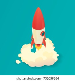 Isometric rocket launch. Start up rocket ship. Vector illustration.