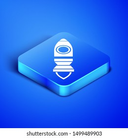 Isometric Rocket ship with fire icon isolated on blue background. Space travel. Blue square button. Vector Illustration
