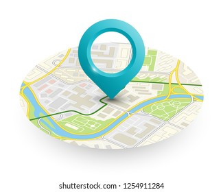 Isometric round city map navigation, point marker background, vector isometry circle schema, simple city plan GPS navigation, final destination arrow paper city map. Route delivery check point graphic
