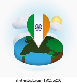 Isometric round map of India and point marker with flag of India. Cloud and sun on background. Isometric vector illustration.