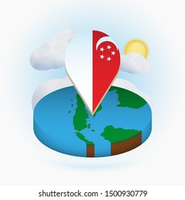 Isometric round map of Singapore and point marker with flag of Singapore. Cloud and sun on background. Isometric vector illustration.