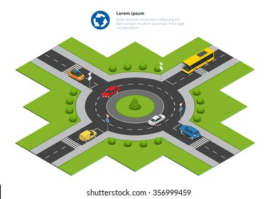 Isometric Roundabout. Circular intersection or junction in which road traffic flows almost continuously in one direction around a central island. City Traffic