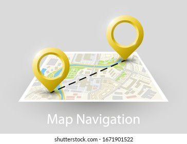 Isometric Route square map banner. Fast logistic 3d transport itinerary, application isometry city infographic vehicle