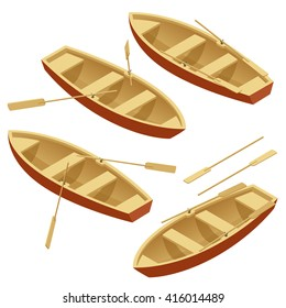 Isometric Rowing boat isolated. Wooden boat with paddles isolated on write background.
