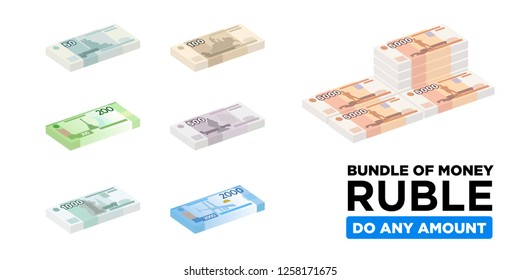 Isometric ruble bundle of Russian paper money - vector one size, business art illustration