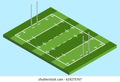 Isometric Rugby field in vector EPS 10