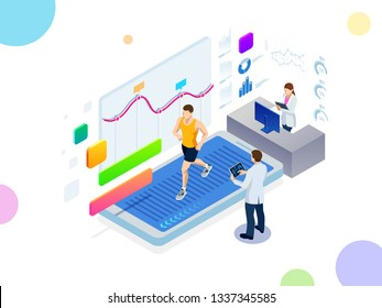 Isometric running on a treadmill and fitness bracelet or tracker isolated on white. Man running on a smartphone treadmill and exercising fitness app and sports under the supervision of doctors.