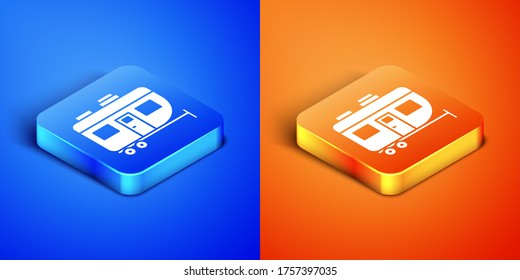 Isometric Rv Camping trailer icon isolated on blue and orange background. Travel mobile home, caravan, home camper for travel. Square button. Vector Illustration