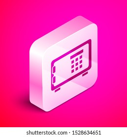 Isometric Safe icon isolated on pink background. The door safe a bank vault with a combination lock. Reliable Data Protection. Silver square button. Vector Illustration