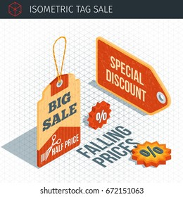 Isometric sale labels. 3d paper colorful tags. Highly detailed vector illustration
