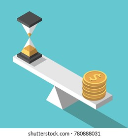 Isometric sandglass and gold dollar coins on seesaw weight scales on turquoise blue background. Time, money and urgency concept. Flat design. Vector illustration, no transparency, no gradients