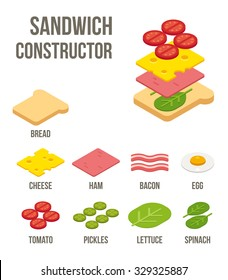 Isometric sandwich ingredients: bread, cheese, meats and vegetables. Isolated flat vector illustration.