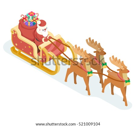 Isometric Santa Claus Grandfather Frost Sleigh Stock Vector Royalty