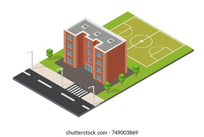 Isometric school building and football field interior realistic 3d icon.