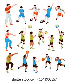 Isometric school sport kids team coach set of isolated human characters with team members and trainers vector illustration