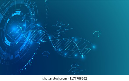 Isometric science concept. Abstract DNA technology background. Vector illustration