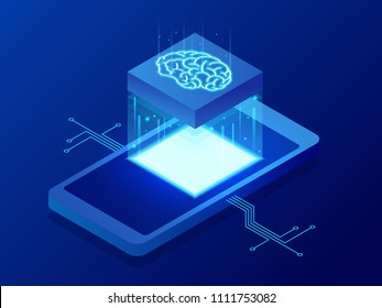 Isometric Science teacher bot concept. Artificial Intelligence, Knowledge Expertise Intelligence Learn. Technology and engineering. Online training banner
