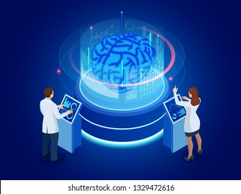 Isometric scientific development of Artificial Intelligence concept. Electric brain. Laboratory researching brain. vector illustration