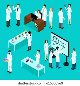 Isometric scientists characters set with chemical physical biological research experiments and tests isolated vector illustration