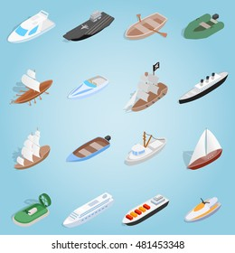 Isometric sea boat icon 3d. Illustration of sea boat icon vector for web