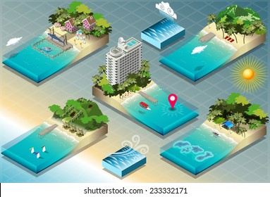 Isometric Sea Fish Ocean Building Tile. City Palace Private Real Estate. Building Collection Beach Ocean Hotel. Isometric Building Tile. 3d Map Illustration Element Set Business Sea Ship Vector Game