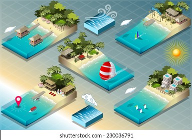 Isometric Sea Ocean Building Tiles. City Palace Private Real Estate.Public Building Collection Luxury Hotel Gardens. Isometric Building Tiles.3d  Map Illustration Elements Set Business Vector Game