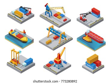 Isometric sea port elements set with ships boats cranes loaders shipment truck platform containers isolated vector illustration