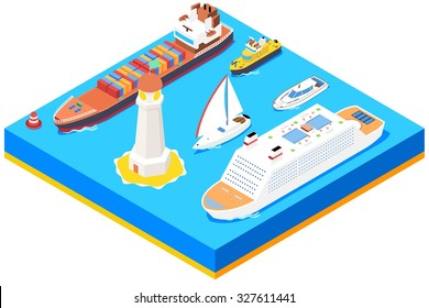 Isometric sea ships vector set. Lighthouse and buoy, ocean boat,  transport and transportation illustration
