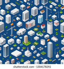 Isometric seamless pattern megapolis city quarter with streets, skyscrapers, trees, and houses. Urban landscape top view