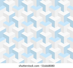 Isometric Seamless Pattern in neutral colors. 3D Optical Illusion Background Texture. Editable Vector EPS10 Illustration.