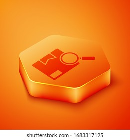Isometric Search package icon isolated on orange background. Parcel tracking. Magnifying glass and cardboard box. Logistic and delivery. Orange hexagon button. Vector Illustration