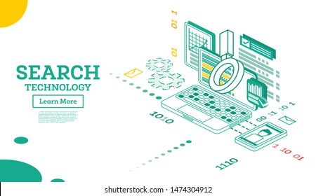 Isometric Search Query Algorithm. Organic Search Result. Seo Keyword. Vector Illustration.