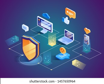 Isometric Security Data Protection concept. Server Pc monitor Tablet Phone Laptop in Cloud network. Vector illustration.