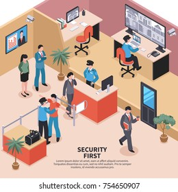 Isometric security system control composition with editable text and office entrance checkpoint interior with workers inspection vector illustration